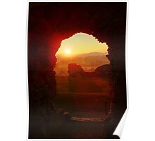 Denbigh Castle North Wales at Sunset Poster