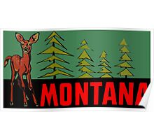 Montana MT State Vintage Travel Decal Poster