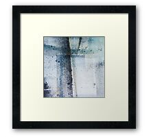 Modern Graphic Ink Design Abstract in Blue and Grey Spray Framed Print