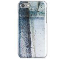 Modern Graphic Ink Design Abstract in Blue and Grey Spray iPhone Case/Skin