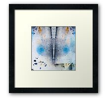 Abstract Unique Graphic ink design in blue and gold Framed Print