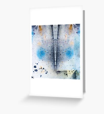 Abstract Unique Graphic ink design in blue and gold Greeting Card