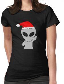 Alien Wearing Santa Hat Womens Fitted T-Shirt
