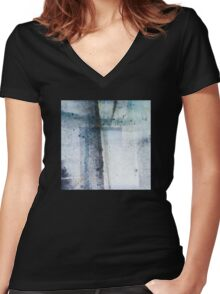 Modern Abstract ink pattern Design in blue and grey Women's Fitted V-Neck T-Shirt