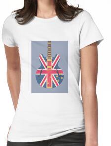 Oasis Union Jack Guitar (Slate) Womens Fitted T-Shirt