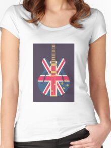 Oasis Union Jack Guitar (Black) Women's Fitted Scoop T-Shirt