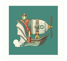 Cartoon steampunk styled flying airship with baloon and propeller Art Print