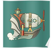Cartoon steampunk styled flying airship with baloon and propeller Poster