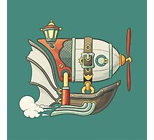 Cartoon steampunk styled flying airship with baloon and propeller Photographic Print
