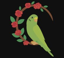 Budgie on a wreath of flowers Baby Tee