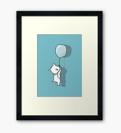 Westie Hangs on for that Bone Framed Print