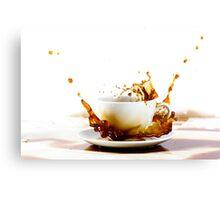 Cup of coffee creating splash Canvas Print