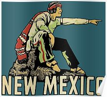 New Mexico NM State Vintage Travel Decal Poster