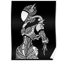 Cyborg girl - On black Poster