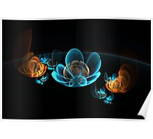 fantastic delicate glowing flowers Poster