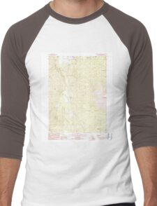 USGS TOPO Map California CA Burney Mountain West 300054 1990 24000 geo Men's Baseball ¾ T-Shirt