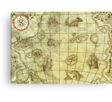 Sea Monsters Map Canvas Print