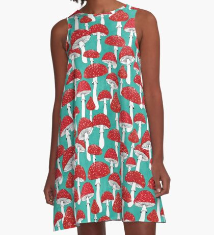 Red mushrooms on turquoise blue A-Line Dress