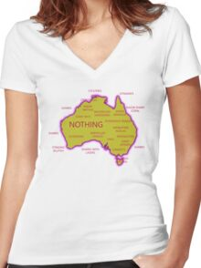 Welcome to Australia (Front) Women's Fitted V-Neck T-Shirt