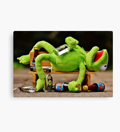 drunk Kermit  Canvas Print