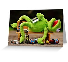 drunk Kermit  Greeting Card