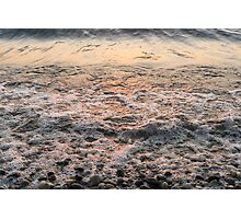 Bubbles in Motion - Whimsical Patterns in the Surf at Sunrise Photographic Print