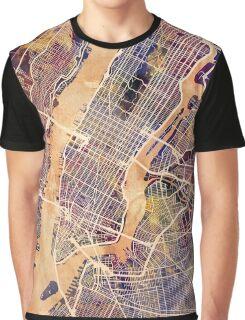 New York City Street Map Graphic T-Shirt