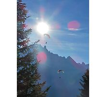 Beautiful nature mountains paragliders Photographic Print