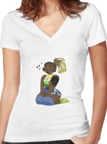 Lil Lucio Women's Fitted V-Neck T-Shirt