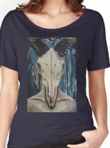 Acrylic Rams Skull Painting Women's Relaxed Fit T-Shirt