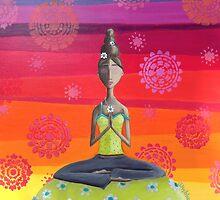 Zen Girl Under Rainbow Sky - Colorful Yoga Art by erica lubee  ~ SkyBlueWithDaisies
