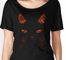 Fiery Cat Face T Shirt Women's Relaxed Fit T-Shirt