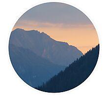 Beautiful nature mountains sunset circle Photographic Print