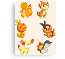 Pokemon Starters - Fire Types Canvas Print