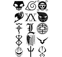 Anime Logos Black Photographic Print