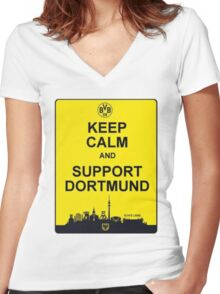 Keep Calm And Support Dortmund Women's Fitted V-Neck T-Shirt