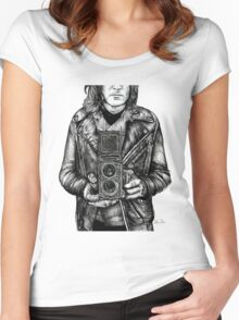 Leather Twin Lens Women's Fitted Scoop T-Shirt
