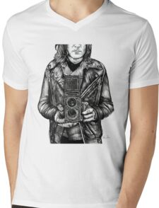 Leather Twin Lens Mens V-Neck T-Shirt