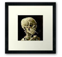 Skull of a Skeleton with Burning Cigarette Framed Print