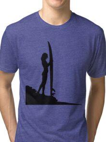 Surfing Silhouette Tri-blend T-Shirt