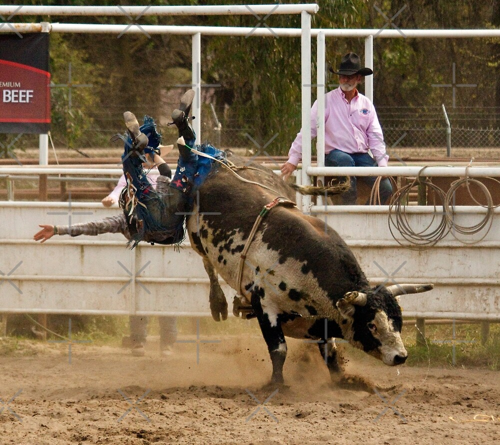 Rodeo Cowboy Thrown from a Bull by Buckwhite