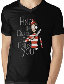 Where is waldo? (Find him before he finds you) Mens V-Neck T-Shirt