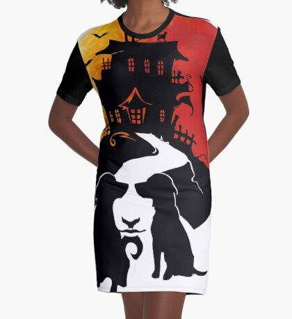 Haunted House Graphic T-Shirt Dress
