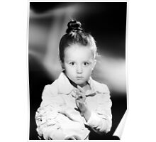 Emotional portrait of cute little girl in vintage style Poster