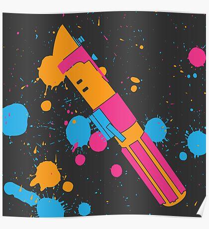 Darth Vader Lightsaber Paint Splatter (Full Color) Poster