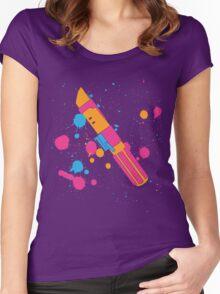 Darth Vader Lightsaber Paint Splatter (Full Color) Women's Fitted Scoop T-Shirt