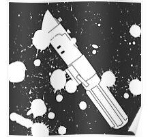 Darth Vader Lightsaber Paint Splatter (Black and White) Poster