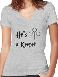 He is a Keeper Women's Fitted V-Neck T-Shirt