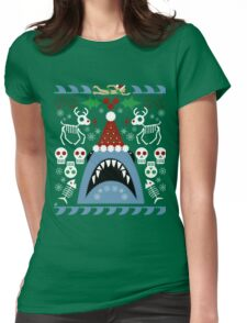 Santa Jaws Ugly Sweater Womens Fitted T-Shirt
