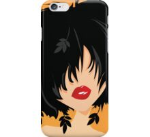 Young woman with black hair, leaves and butterflies coming out of her hair, on orange background iPhone Case/Skin
